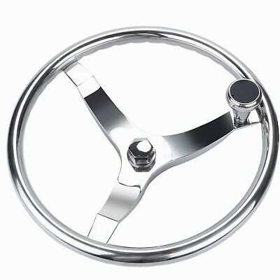 """Boat Steering Wheel 13-1/2"""" Stainless Steel  3 Spokes with Knob Marine Yacht"""