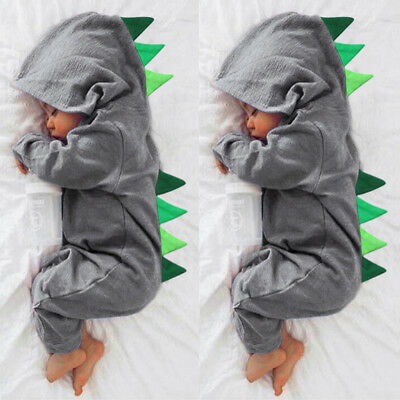 Cute Newborn Kid Clothes Baby Boy Cartoon Dinosaur Hooded Romper Jumpsuit Outfit