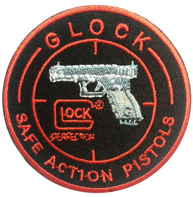 Iron on patches Application badges white pistols Revolver 10.2x7.7cm