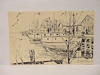 Artist Sketch Of Fishing Boats In Waukegan Harbor , Il ,   F78