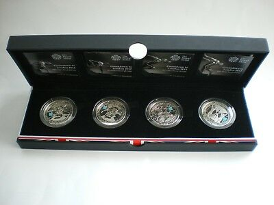 2009 - 2012 Countdown To London Olympics Silver Proof £5 Royal Mint 4 Coin Set