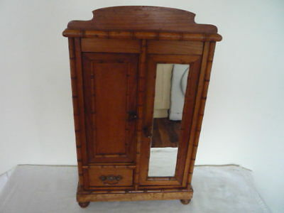 Miniature Vintage French Faux Bamboo Mirror Armoire Small Storage Doll Wardrobe