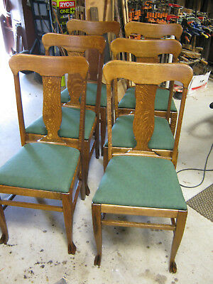 Set of 6 Oak T-Back Paw Foot Dining Chairs