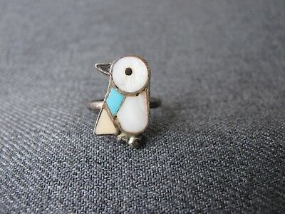 Vintage inlaid mother of pearl & glass silvered metal penguin ring  size 3
