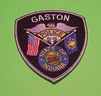 Gaston  Indiana  In  ( Silver Border )  Police Patch   Free Shipping!!!