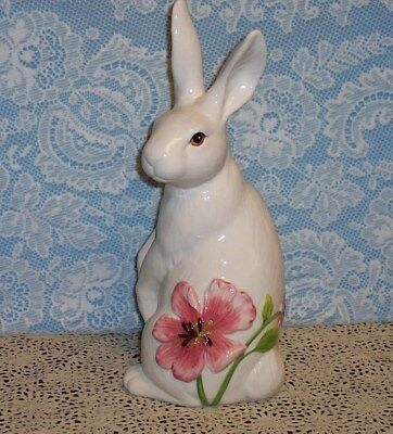 Fitz & Floyd Cherry Blossom Rabbit Figurine, Sitting Up