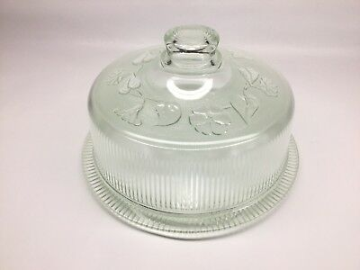 Vintage Heavy Ribbed Glass Domed Cake Saver Stand