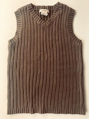 Boys Seed Cotton Vest Light Brown. Size 5-6