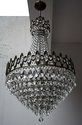 Antique French Basket Style Brass & Crystals LARGE Chandelier from 1950's
