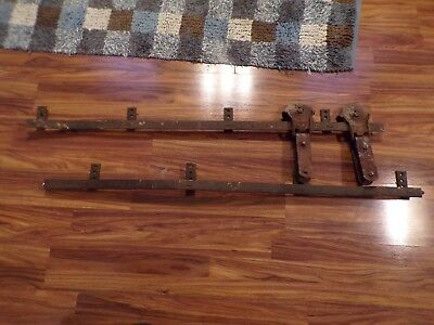 Antique 1901 LOT 2 CAST IRON F E MYERS OK STAY-ON BARN DOOR ROLLERS W/ 8' TRACK