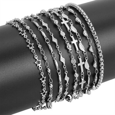 Women's Stainless Steel Silver Charms Chain Bracelets Necklaces Length 7-30 inch