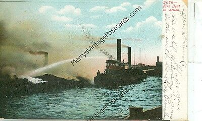Fire Boat In Action-#2076-1907-(Ff-169)