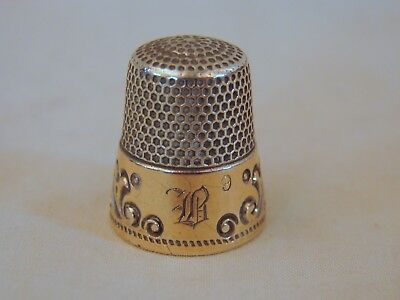 Old Gold Band Sterling Silver Sewing Thimble, #9, Excellent Ketcham & McDougall