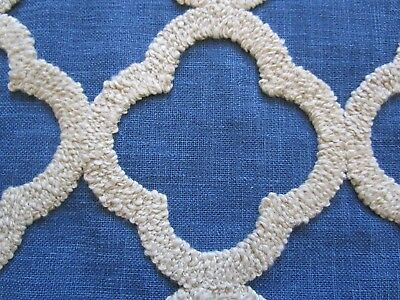 Kravet Navy Blue Tan Embroidered medallion Fabric BTY 100% Poly linen Look feel