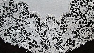 "beautiful antique doily,  figural Italian lace around linen center 8.5"" d,"