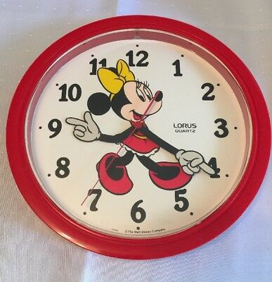 """Vintage MINNIE MOUSE Lorus Wall Clock Made Japan Moving Arms 10.5"""" DISNEY"""