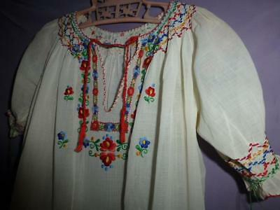 Vtg Hungarian hand embroidered peasant hippie top girls smocked matyo 30s 40s