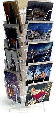 """Counter Greeting Cards Display Rack -18 Combo Pocket 6"""" x 9"""" (White)"""