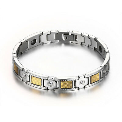 Silver&Gold Titanium Steel Magnetic Health Therapy Care Mens Bracelet Bangles
