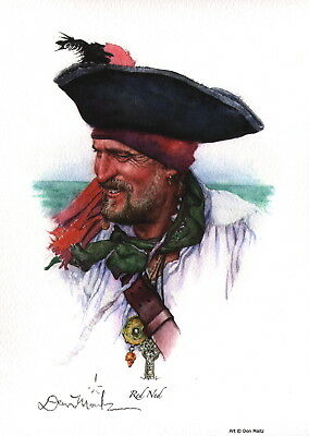 Don Maitz SIGNED Maritime / Pirate / Sea / Island Art Print ~ Red Ned