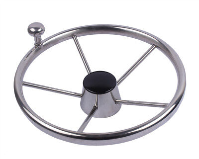"""Marine Yacht Stainless Steel 11"""" Boat Steering Wheel With Knob 5 Spoke with Knob"""