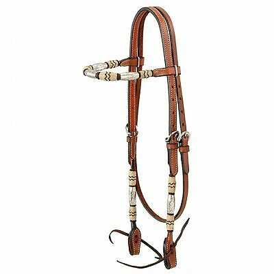 Rawhide Accent Premium Medium Oil Leather Browband Western Horse Headstall TACK