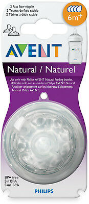 Philips Avent 6 Months+ 2-Pack Fast Flow Natural Nipples