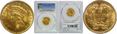 1887 $3 Gold Coin PCGS MS-63