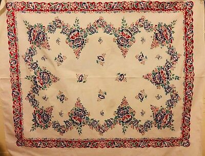 Vintage Mid Century Tablecloth Floral Flowers Red Blue Green White 63 X 51
