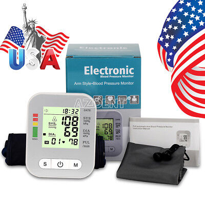 Full-Automatic Upper Arm Cuff Blood Pressure Monitor Heart Rate Beat Pulse Meter