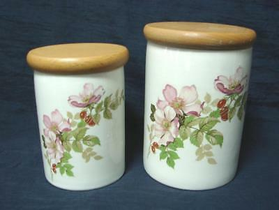 2 PORTMEIRION  briar rose kitchen cannisters canisters 14 cm + 12 cm