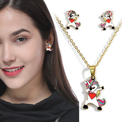 Childrens Girls Kids Personality Unicorn Necklace and Earring Set Brand