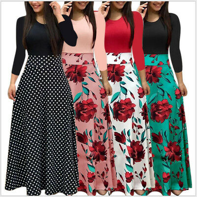 Party UK Women Evening Casual Sundress Long Summer Prom Beach Dress Maxi Floral