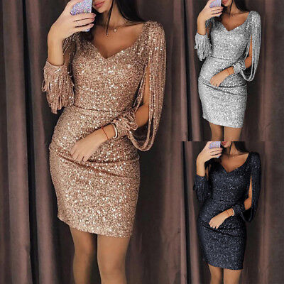 Women Sequined Long Sleeve Tassel Bodycon Party Club Cocktail Evening Dress