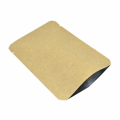 100x Open Top Round Corner Kraft Paper Aluminum Foil Bag Heat Seal Vaccum Pouch