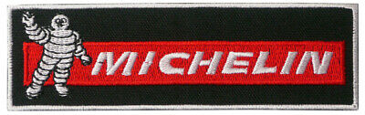 Michelin Logo Red Black 11cm x 3.5cm Patch Embroidered Sew or Iron on Badge