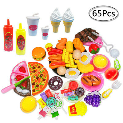 60pcs Kids Toy Pretend Role Play Kitchen Pizza Food Cutting Sets Children Gift