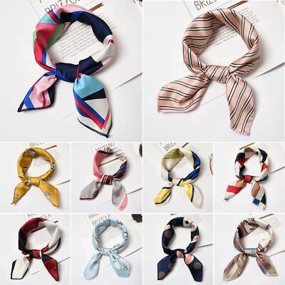 Hot Women Vintage Square Soft Satin Scarf Skinny Elegant Head Neck Hair Tie Band