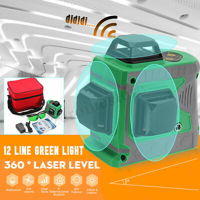 12 Line 3D Green Light Laser Level Auto Self Leveling 360° Rotary Measure Cross