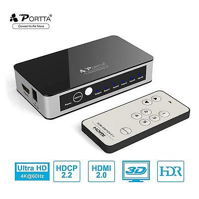 PORTTA HDMI SWITCH Premium 4K HDMI Switcher 5 Port HDMI Switch Splitter 5  to 1 H