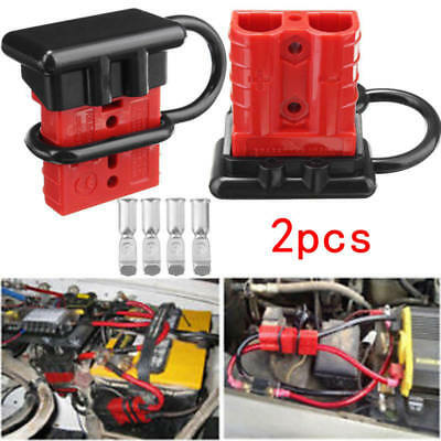 2x Batteries Quick Connect Kit -50A Wire Harness Plug Disconnect Winch Trailer
