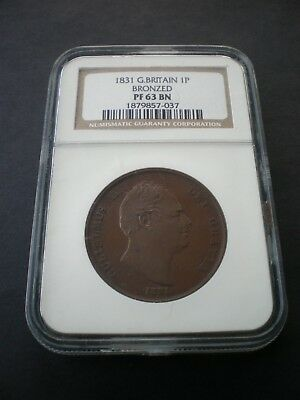 Rare Great Britain William IV 1831 Proof Penny 1d - NGC PF 63 BN