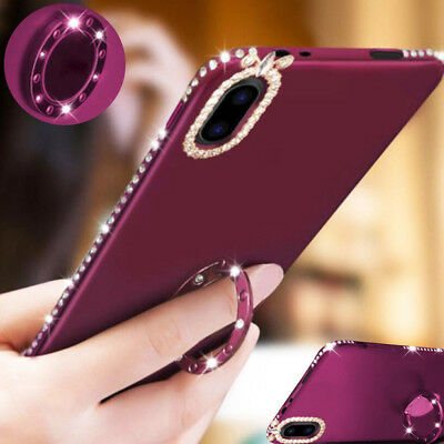 Shockproof Bling Crystal Diamond Kickstand Case Cover For i Phone XS Max 7 Plus