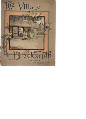 THE VILLAGE BLACKSMITH illust. brochure (1800's) H.R. Boyer Millinery Reading PA