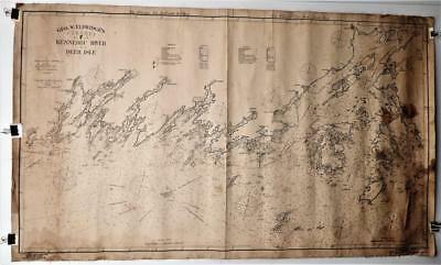 Original 1905 Geo. Eldridge Nautical Chart F Kennebec River To Deer Isle Maine