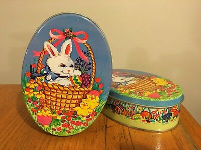 Vtg Lot TWO Easter Candy Cookie Egg-Shape Tins Made Hong Kong