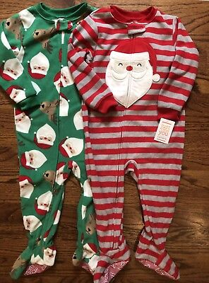 8bc0e0f443 NWT Carters Just One You Set Of 2 Fleece Footed Sleepers Christmas Santa 2T