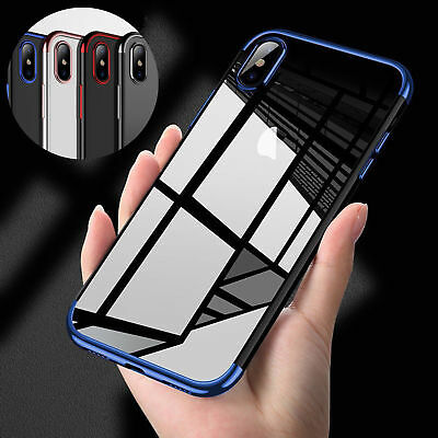 For iPhone XS Max XR Shockproof Hybrid Crystal TPU Soft Clear Bumper Case Cover