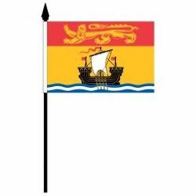 New Brunswick Nb Provincial 4 X 6 Inch Small Mini Stick Flag With 10 Inch Pole .