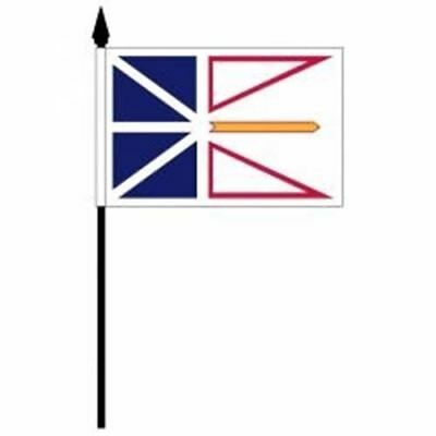 Newfoundland Nfld Provincial 4 X 6 Inch Small Mini Stick Flag 10 Inch Pole (10 C